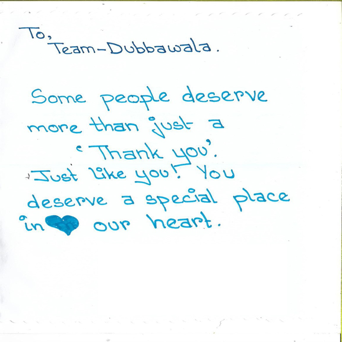 A Note of Thank You from a group of NGO Children after they liked the food of Dubbawala on 8/01/2019