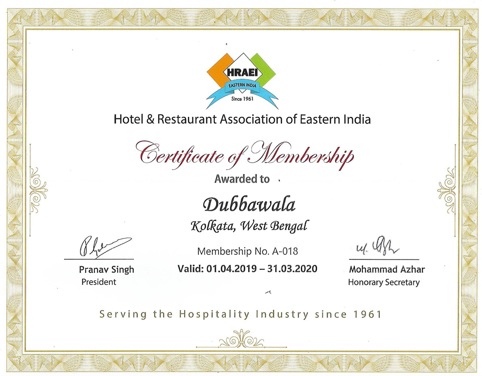 A Member Of Hotel & Restaurant Association Of Eastern India